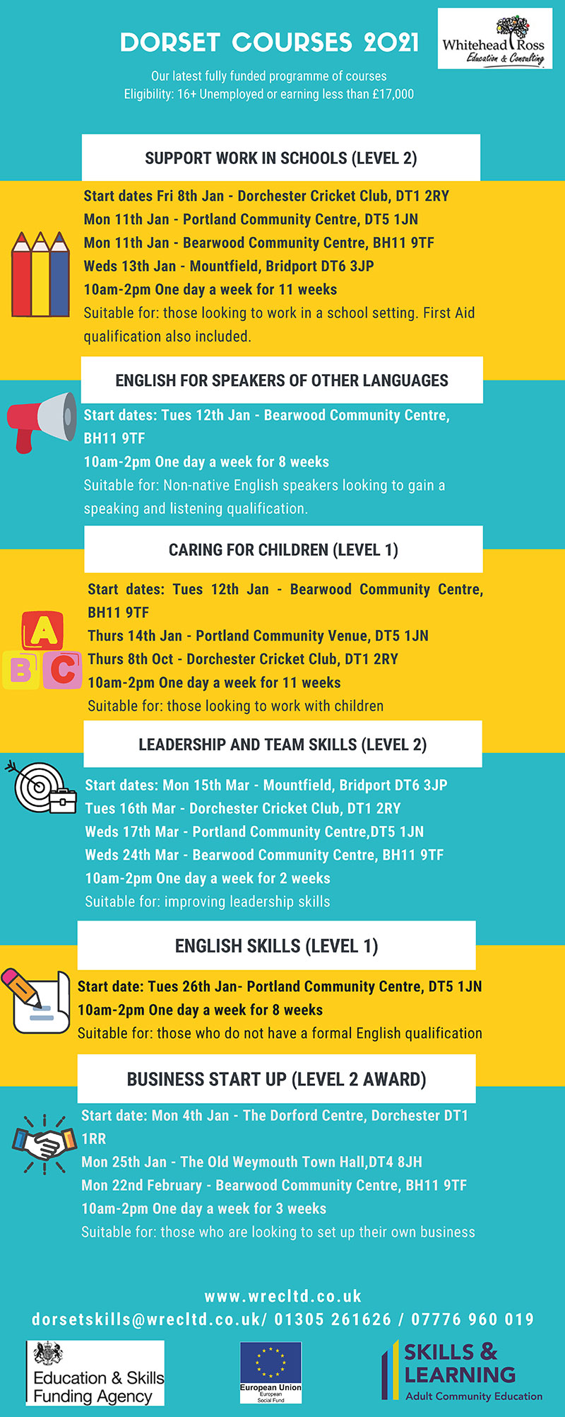Full list of Free Training Courses available in Bearwood and across Dorset